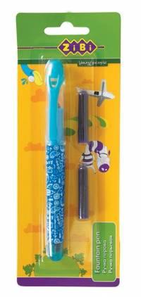 Ручка перова (відкрите перо) + 2 капсули. блакитний корпус. дизайн з малюнками. картонний блістер