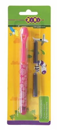 Ручка перова (відкрите перо) + 2 капсули. рожевий корпус з малюнками. картонний блістер